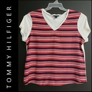Tommy Hilfiger Women Stripe V-Neck Blouse T Shirt